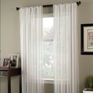 Pair Voile One Pole Top Panel Curtains White